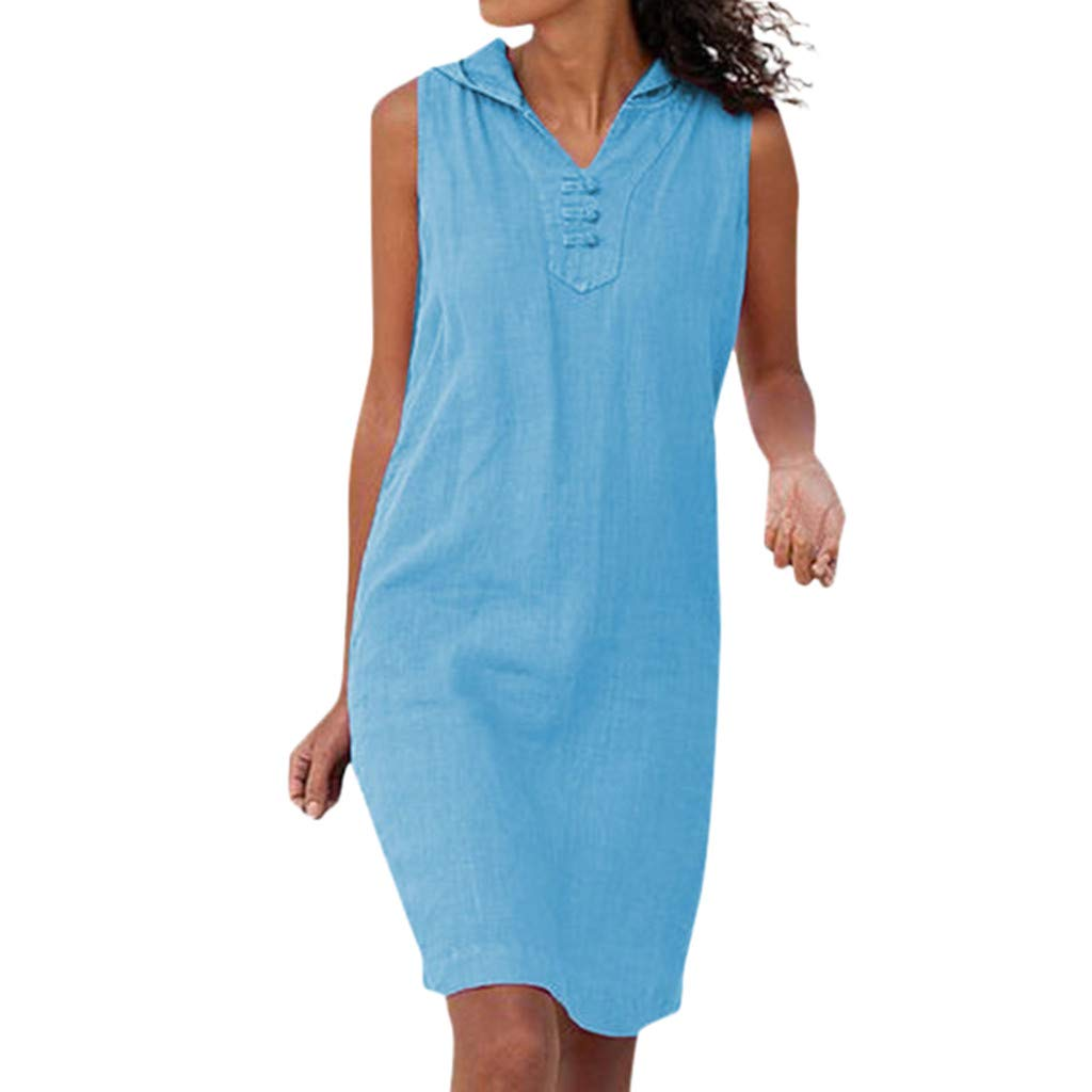 Mysky Fashion Women Summer Classic Leisure Pure Color Sleeveless Loose Soft Cotton Hooded Mini Dress