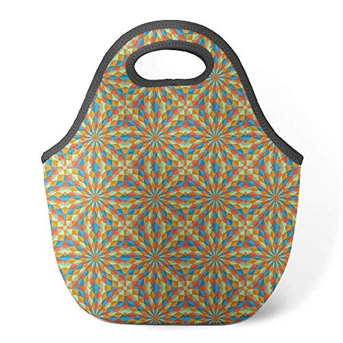 Neoprene Lunch Tote Insulated Reusable Picnic Lunch Bag Geometric Op Art Style Pattern ]