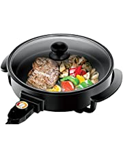 Chefman Electric Skillet - 12 Inch Round Frying Pan with Non Stick Coating, Temperature Control, Tempered Glass Lid, Cool-Touch Handles and Knob, Black