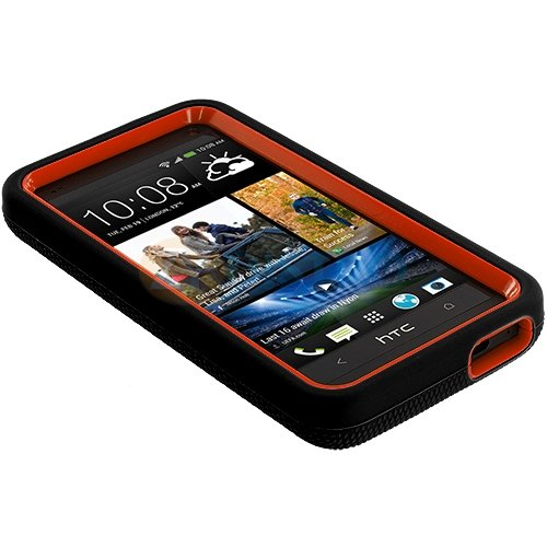 myLife Black + Orange Shockproof Armor (Built In Kickstand) Body Glove Case for HTC One M7, Google Play Edition (801e, 801n, 801c, 801s) Touch Smartphone (Flexible External Silicone Gel + Hard 2 Piece Internal Rubberized Snap Guard)