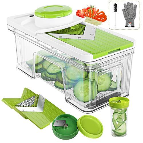 Adjustable Mandoline Slicer with Spiralizer Vegetable Slicer - V Blades Food Slicer Veggie Slicer Cutter Zoodle Maker - Vegetable Spiralizer with Julienne Grater