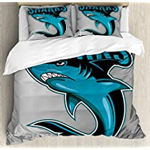 Shark King Size Duvet Cover Set by Ambesonne, Angry Danger Fish Fins Aggressive Sea Creature Monster Life Illustration, Decorative 3 Piece Bedding Set with 2 Pillow Shams, Petrol Blue Black Grey