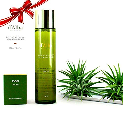 D'Alba Peptide Korean Cosmetics Peptide Balancing Toner for sensitive skin PH level 5.6 with Anti-Aging recovery and Remove pore residue