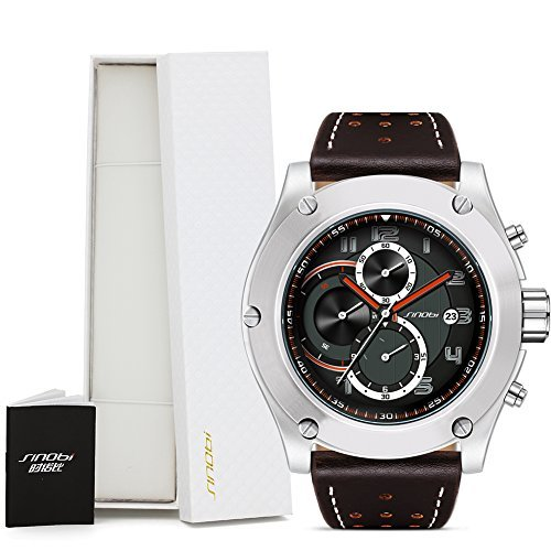 Sinobi Chronograph Mens Sport Wristwatches Leather Watchband Workable Sub Dials Date Military Watch Large