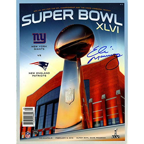 New York Giants Eli Manning Autographed Signed Super Bowl XLvi Program Steiner Sports Coa