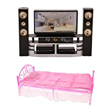 MonkeyJack Perfect Chic Mini Furniture Plastic Dolls Bed Bedroom Furniture Dollhouse Princess Toy for Girls+ TV and Audio Player Set for Barbie Dolls Pretend Play Toys
