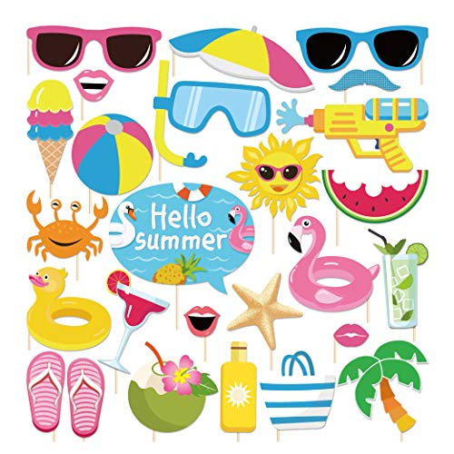 CC HOME Hawaii Luau Themed Summer Party Pool Photo Booth Props,Summer Swimming Pool Beach Party Supplies Favors for Baby Shower,Birthday Party ,Wedding ,Hawaiian Luau ,Tiiki.Indoor Outdoor Funy Summer Favor Supplies,25CT]()