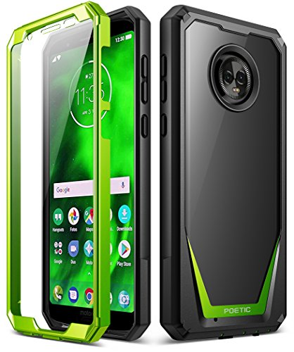 Moto G6 Case, Poetic Guardian [Scratch Resistant Back] [360 Degree Protection] Full-Body Rugged Clear Hybrid Bumper Case with Built-in-Screen Protector for Motorola Moto G6 Green