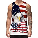 Freshhoodies Mens Graphic Tank Tops USA Flag Man Workout Tank Shirts Novelty Sleeveless Tee Shirts Independence Day (American Flag, Medium)