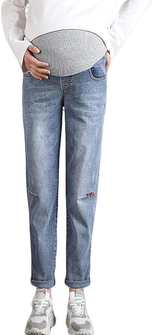 Vaqueros Embarazada Mujer Pantalones Premama Tallas Grandes Jeans Boyfriend Rectos Verano Embarazo Cinturon