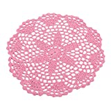 LALANG Handmade Weaving Hollow Flower Round Placemat Coaster Home Table Decoration(Pink)