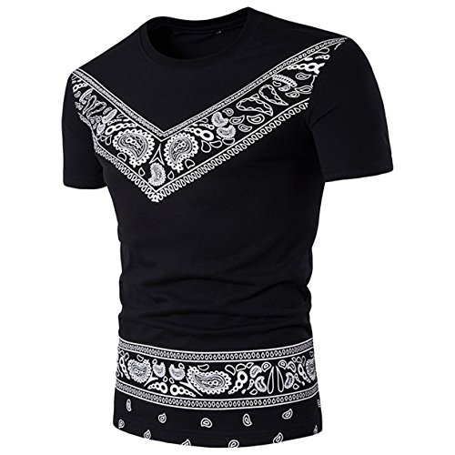 BYEEE New Arrivals Men's Short Sleeve African Dashiki Shirts Cotton T Shirt Scoop Neck Slim Fit Pullover (Black, (Black Collection Under Armour)