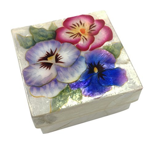 Kubla Craft Pansy Blossoms Capiz Shell Keepsake Box, 3 Inches Square