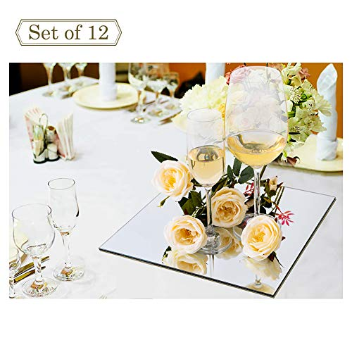 12-inch Wedding Centerpieces for Tables Mirror Trays, Mirror Wall Decoration, Square Mirror Charger Plate and Candle Tray, 12 Packs, 2mm Thickness, Rounded Edge