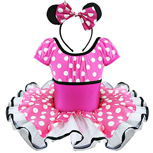 [TIAOBU Girls Polka Dots Xmas Party Cosplay Tutu Dancewear Costume Dress Headband 4T Hot Pink] (Ballerina Costumes For Toddler)