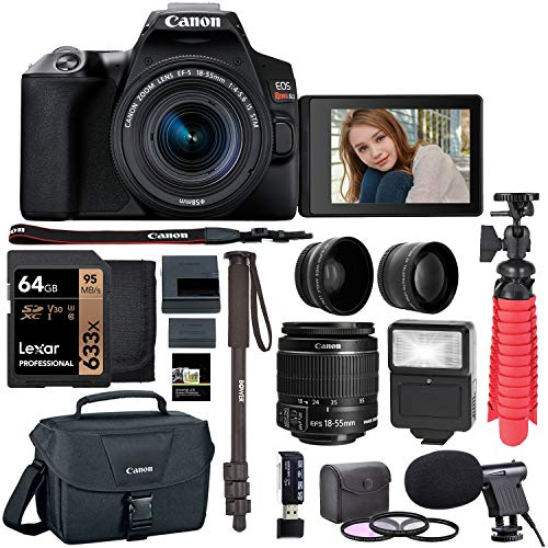 Canon EOS Rebel SL3 DSLR with Lexar 64GB, Microphone, Camera Bag, Flash and More