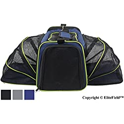 "EliteField Expandable Soft Pet Carrier (3 Year Warranty, Airline Approved), Multiple Sizes and Colors Available (20""L x 12""W x 11""H, Navy Blue)"