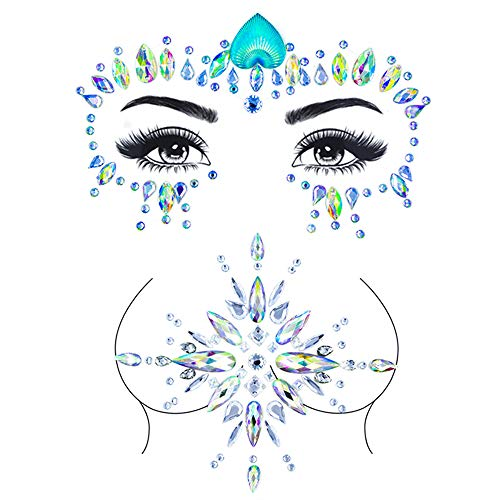 ZLXIN Face Chest Gems, Temporary Tattoo Stickers, Self-adhesive Glitter Rhinestone Body Jewels, Waterproof Crystal Face Breast Chest Gems for Rave Festival, Party or Music Concert(One Set) ... (2)