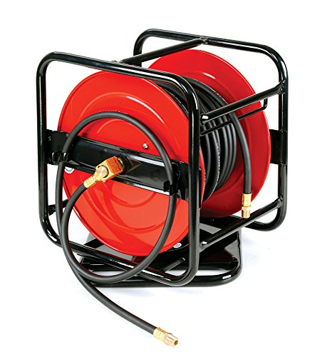 REELWORKS Heavy Duty Pro Level Portable Hand Crank Air Hose Reel 360 Pivot Base 1/4' x 100 Ft -