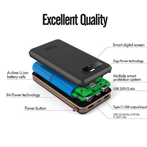 Qualcomm Certified easy price 30 USB C imuto 30000mAh very good sized Capacity portable Charger electrica Bank 3 USB Ports External Battery Pack USB TYPE C Port and Qualcomm QC30 feedback outcome for BlackBerry KEYone Samsung Galaxy S8 Note 8 iPhone X 10 8 7 6 Plus 6S PlusTablets Nintendo Switch Macbook and a lot more Black External Battery Packs