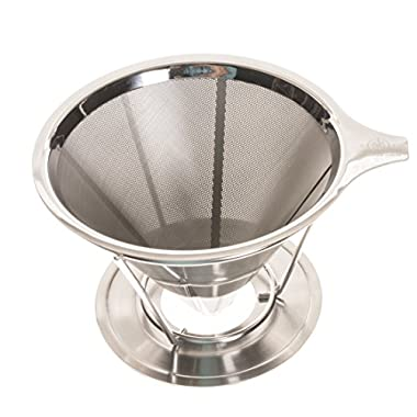 Pour Over Coffee Filter by Longitude Coffee - Permanent Reusable and Eco-Friendly Stainless Steel Coffee Maker Dripper (Brews 1-4 Cups)