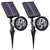 Solar Spot Lights Outdoor Spotlight LED Spotlights Super Bright Waterproof Dusk to Dawn On Wall or Stake White Lighting for Flag Tree House Lawn Patio Yard Driveway Garden Landscape 2Pack