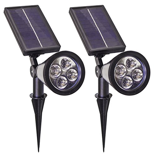 Solar Spot Lights,SpotLight,Super Bright 200 Lumen On Wall or Stake Sogrand 4 LED Spotlight Outdoor Lighting for Flag Tree Lawn Patio Yard Driveway Garden Landscape 2Pack