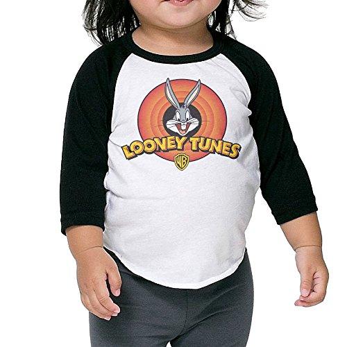 Looney Tunes Logo Raglan T Shirt Toddler Soft Cotton Long Sleeve 3/4 Kids Funny]()