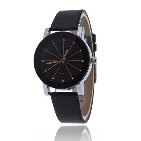 Reloj de pulsera de Pareja - Reloj con correa de cuero, estilo minimalista, reloj de pulsera de cuarzo, relojes para mujeres y hombre 2018 ...