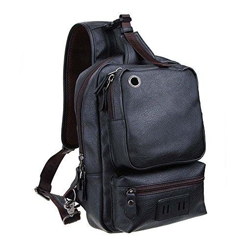 - Zebella Men's Letaher Unbalance Chest Pack Multipurpose Backpack Crossbody Shoulder Bag Travel Sling Bag