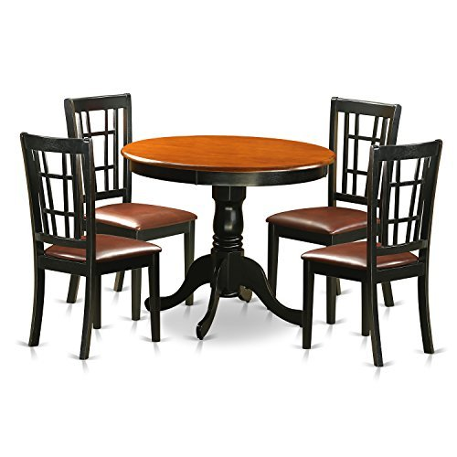 East West Furniture ANNI5-BLK-LC 5 Piece Dining Table with 4 Faux Leather Antique Chairs, Black/Cherry Finish