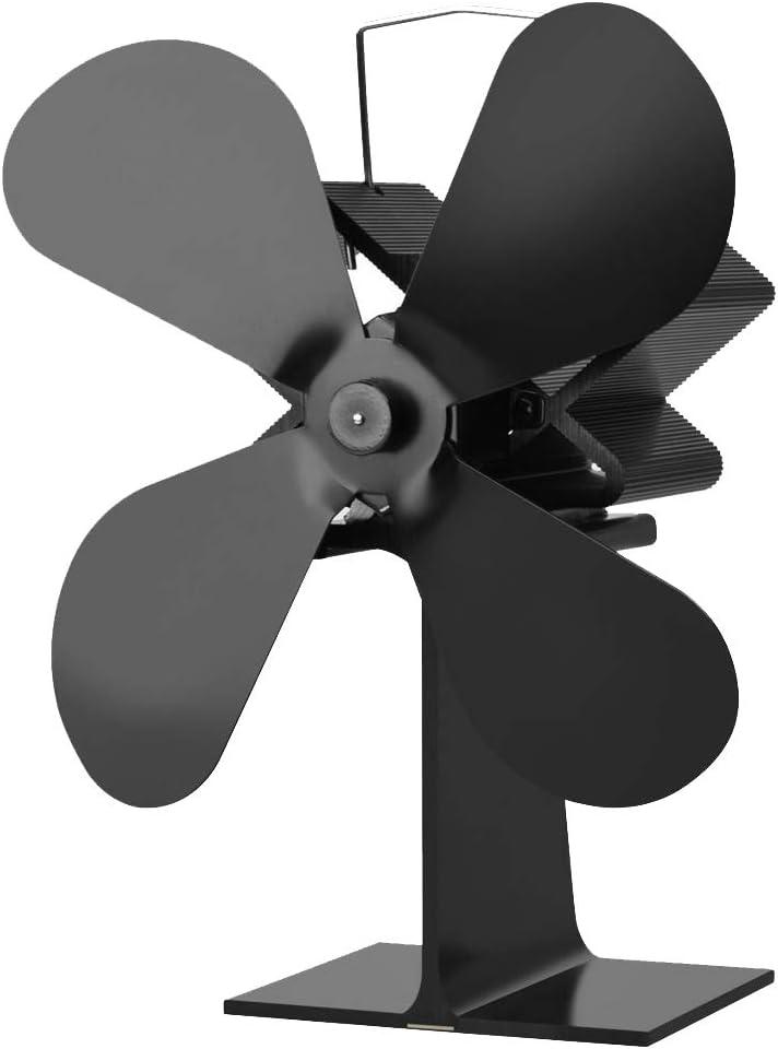 LOVIVER Calentador Eléctrico De La Estufa Ventilador De 4 Cuchillas Estufa De Leña Ventiladores Silencioso Respetuoso del Medio Ambiente para La Chimenea De L