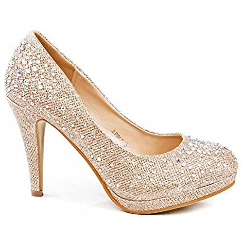 JJF Shoes Apple5 Champagne Rhinestone Glitter Sparkling Bling Formal  Evening Pumps 8