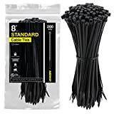 Neiko 51252A UV Black Cable Zip Ties, 200-Piece | 8-Inch Length | 75-lbs Tensile Strength
