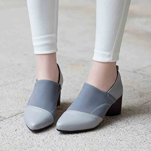 Faux Suede Heel Easemax Chunky Elegant Toe Shoes Womens Mid Stitching Pumps Gray Pointed ZwZEpqO