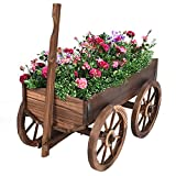 Wood Wagon Flower Planter Pot Stand W/Wheels Home Garden Outdoor Decor New