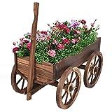 New Planter Pot Stand W/Wheels Home Garden Outdoor Decor Wood Wagon Flower