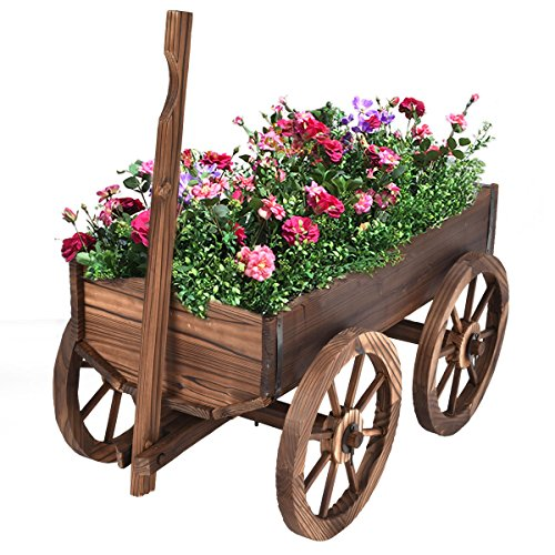 Wood Wagon Flower Planter Pot Stand W/Wheels Home Garden Outdoor Decor New ()