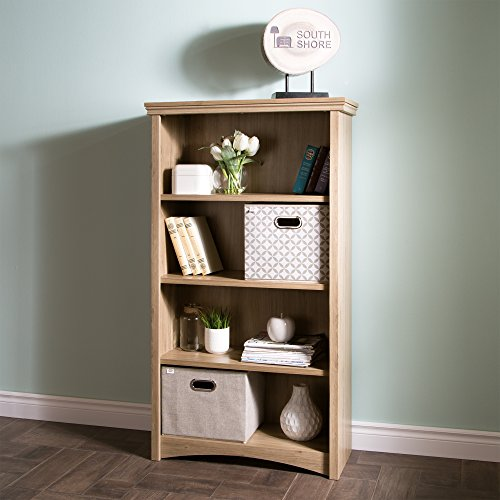 South Shore 9064767 4-Shelf Storage Bookcase, Rustic Oak ()