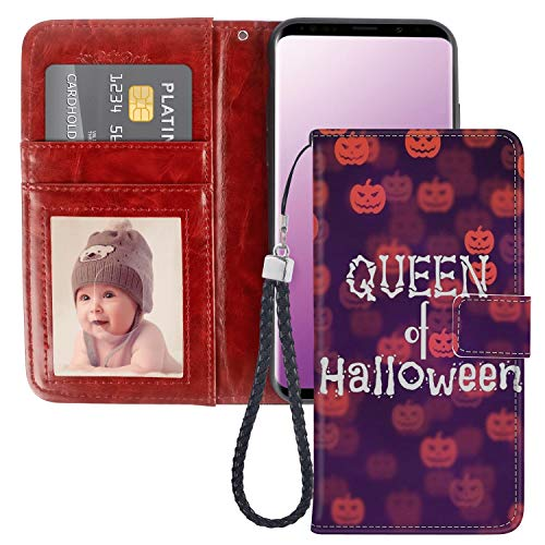 Samsung Galaxy S9 Queen of Halloween Design Wallet Case, Pocket Phone Case, Leather Cover, Shockproof, Multi-Slots Flip Card Holder for Samsung Galaxy S9 LingHan ()
