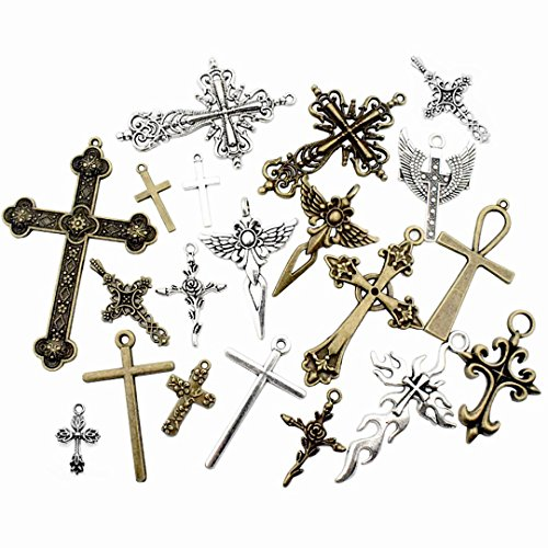 100g Big Cross Pendants Collection - Antique Bronze Silver Sword Holy Angel Jesus Peace Cross Crucifix Metal Charms for Jewelry Making DIY Findings (HM23)
