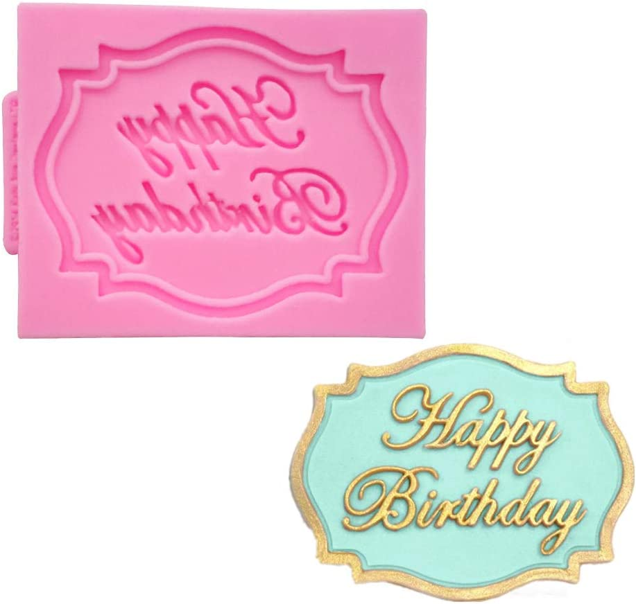 Efivs Arts mini Happy Birthday Alphabet border Silicone Chocolate Mold for Cake Topper Decoration Candy Mold Fondant Tool
