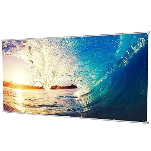 120 inch Projector Screen, 16:9 Portable Manual Pull Down Indoor Outdoor Movie Screen with Hanging Hole Grommets for Front Projection Home Theater Match Party