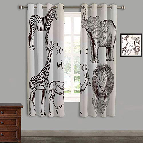 Cream Zebra Brown (Lovely Children Curtains Drapes,Polyester Curtains Panels,2 Panels,58