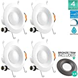 Pack of 4 Luxrite 5/6 Inch LED Recessed Ceiling Light Fixture, 15W (120W Equivalent), 5000K Bright White, Bronze Trim Included, 1300LM, LED Retrofit Recessed Light, Dimmable, E26 Base, Energy Star