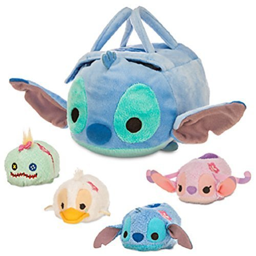 Disney - Stitch ''Tsum Tsum'' Plush Set - Small Bag - 8'' - Plus Stitch, Angel, Ugly Duckling, and Scrump - 3 1/2''
