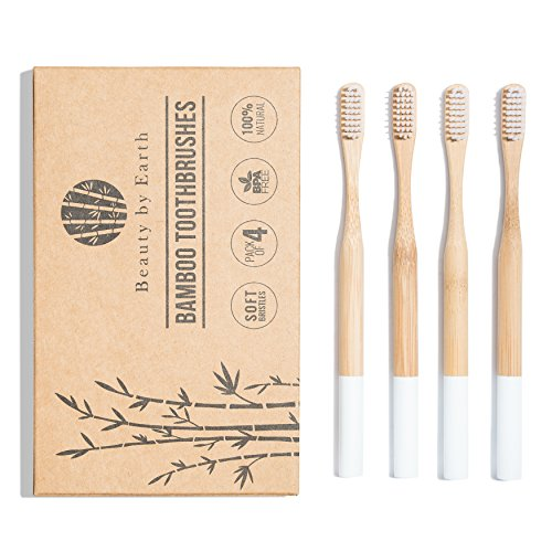Natural Bamboo Toothbrush with Soft Bristles - BPA-Free, Recyclable & Biodegradable - Stylish & Chic (Pack of 4 for - Chic Stylish