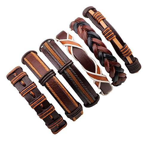 Gyand 6 PCS Handmade Braided Leather Rope Cuff Wrap Bracelet For Men and Women 7-11 inch