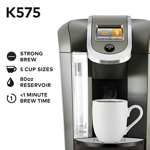 Keurig K575 Single Serve K-Cup Pod Coffee Maker with 12oz Brew Size, Strength Control, and Hot Water on Demand, Programmable, Platinum - smallkitchenideas.us