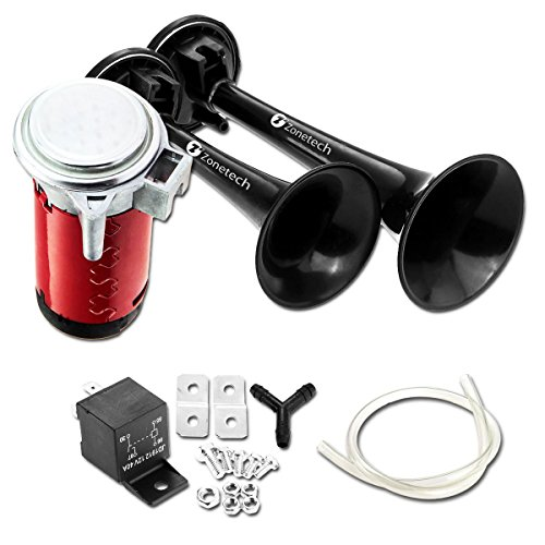 Zone Tech 12V Dual Trumpet Horn - Premium Quality Classic Black Super Loud Powerful Train Sound Shiny Dual Car Van Truck Boat Air Horn (Loud Air Horns)